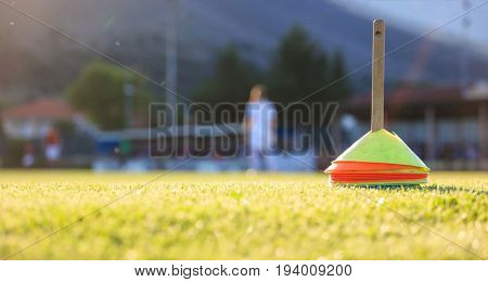 Football training cones in the field