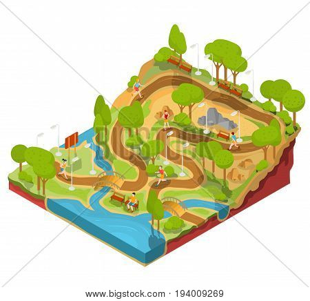 3D isometric illustration of cross section of a landscape park with a river flowing there, bridges, benches and lanterns. Soil in the section for the study of geological layers.