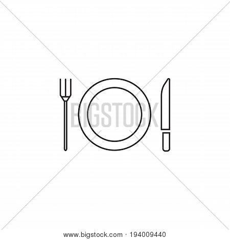 Plate Fork And Knife line icon, dishware outline vector sign, linear pictogram isolated on white. logo illustration