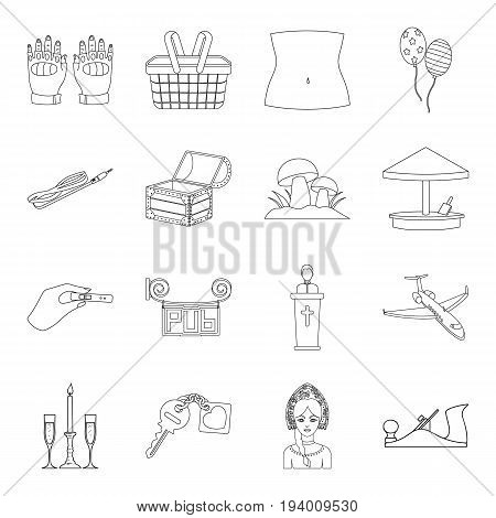 Toy, construction, maintenance and other  icon in outline style.Carpentry, shopping, medicine icons in set collection.