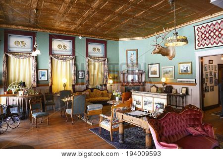 BUFFALO, WYOMING - JUNE 23, 2017: The Occidental Hotel Lobby. Founded in 1880 at the foot of the Bighorn Mountains near the Bozeman Trail, it became one of the most renowned hotels in Wyoming.