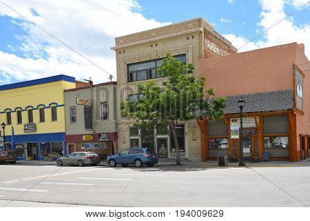 BUFFALO, WYOMING - JUNE 23, 2017: Main Street Shops Buffalo Wyoming. Buffalo's main street has more than a dozen historic buildings.