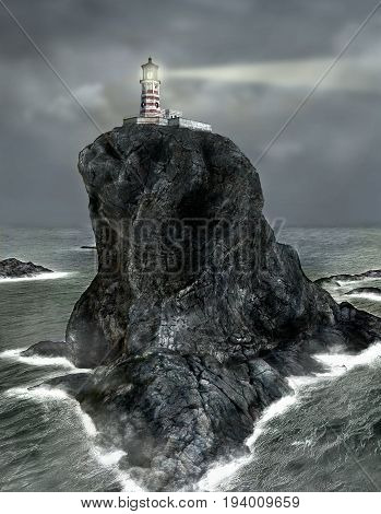 3d painting of a lighthouse on a rocky island towering over the sea beaming a search light.