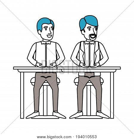 silhouette color sections of men sitting in desk one with casual clothes and the other with formal clothes and van dyke beard vector illustration