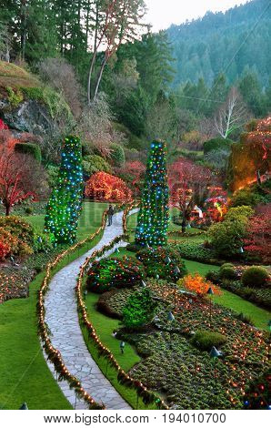 Victoria BC,Canada,December 18th 2012.The sunken gardens at Christmas time at the world famous Butchart Gardens in Victoria BC.Merry Christmas everyone.