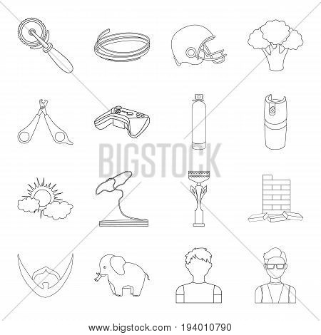Bars, glasses, teacher and other  icon in outline style.Gas, table, cubes icons in set collection.