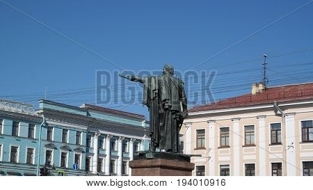 Mikhail Kutuzow monument.Russian Army commander at 1812 war.Historical city center of Saint-Petersburg.ST. PETERSBURG, RUSSIA , July 2, 2017