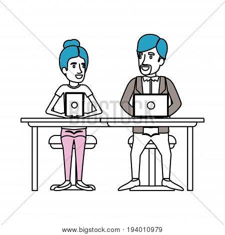 silhouette color sections of teamwork of woman and man sitting in desk with tech devices and her with collected hair and him in casual clothes with van dyke beard vector illustration