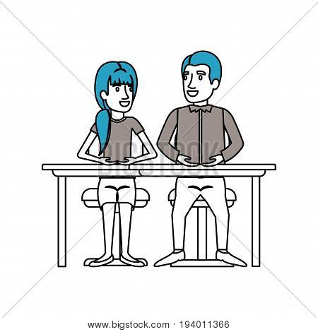 silhouette color sections of teamwork of couple sitting in desk and woman with ponytail hair and man side parted hair in formal suit vector illustration