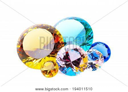 Lot of colorful diamonds, over white background