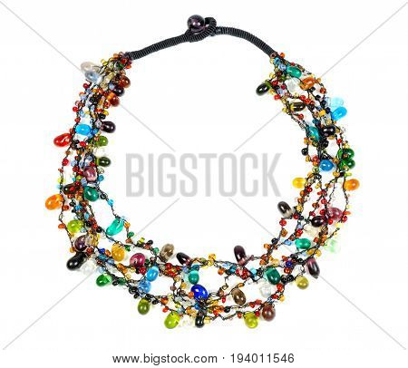 Necklace with colorful gems isolated on white background