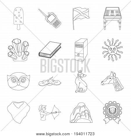 sport, animals, education and other  icon in outline style. medicine, library, security icons in set collection.
