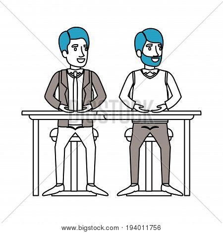 silhouette color sections of men sitting in desk one with casual clothes and beard and the other with formal suit and necktie vector illustration