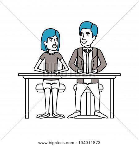 silhouette color sections of teamwork of couple sitting in desk and woman with short hair and man side parted hair in formal suit vector illustration