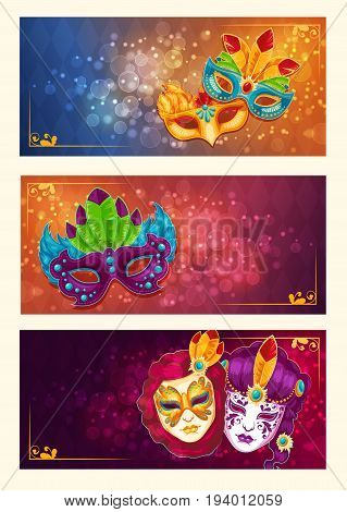 Collection of cartoon banners with venetian painted carnival facial masks for a party decorated with feathers and rhinestones
