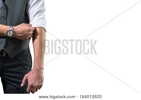 A Young Businessman In A White Shirt Rolls Up His Sleeves Prepar