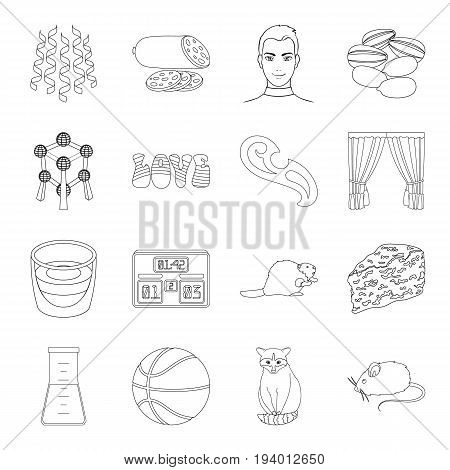 medicine, sport, animal and other  icon in outline style.sewing, celebration, cooking icons in set collection.