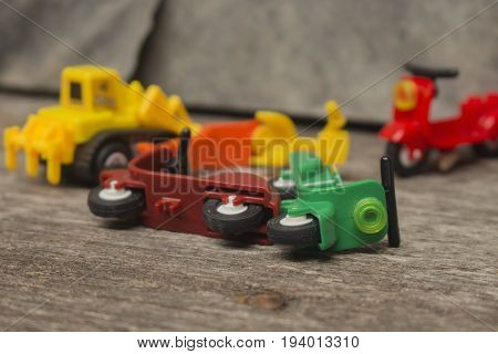 insurance concept idea simulation image of two motocycle toy crash or accident