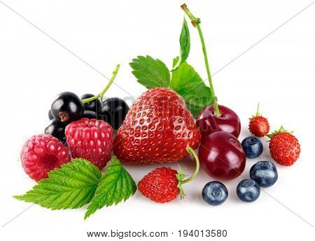 Organic berry fruity mix with green leaf. Healthy food fresh fruit, isolated on white background.