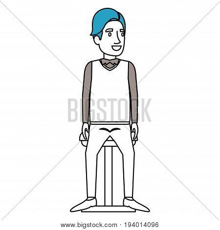 silhouette color sections of man with hair side fringe and sitting in chair vector illustration