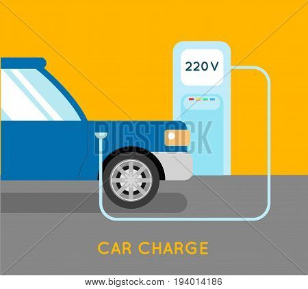 Car charging eco station. Electro car charge.
