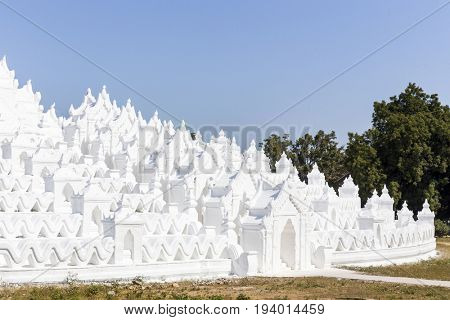 Hsinbyume white pagoda in the Mingun village, Myanmar