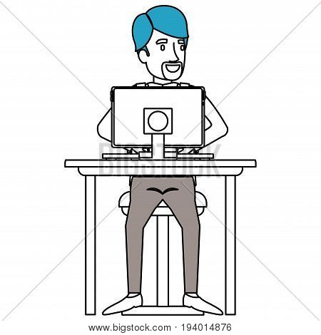 silhouette color sections of man with formal suit and beard van dyke and side parted hair and sitting in chair in desk in tablet vector illustration