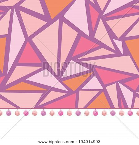 Vector pompom border trim on pink triangles mosaic seamless repeat pattern design background print. Perfect for clothing, fabric, home decor, wrapping projects. Surface pattern design