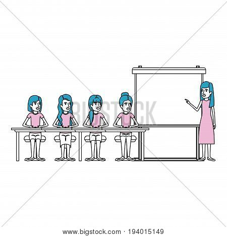 silhouette color sections with women group sitting in a desk for executive female in presentacion business people vector illustration