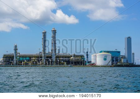 Labuan,Malaysia-May 1,2017:View of the Oil and gas,oil refinery,refinery plant,refinery factory petrochemical plant in Labuan,Malaysia.