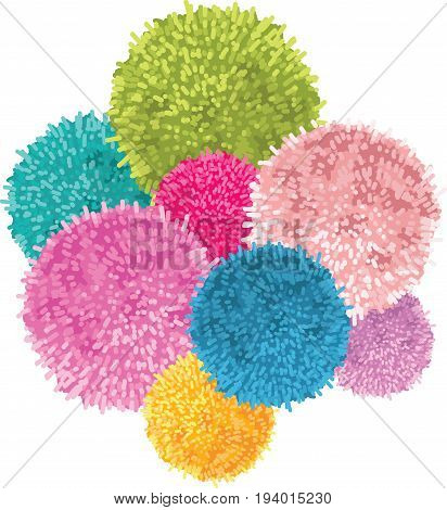 Vector Bunch of Colorful Baby Kids Birthday Party Pom Poms Element. Great for handmade cards, invitations, wallpaper, packaging, nursery designs. Home decor elements.