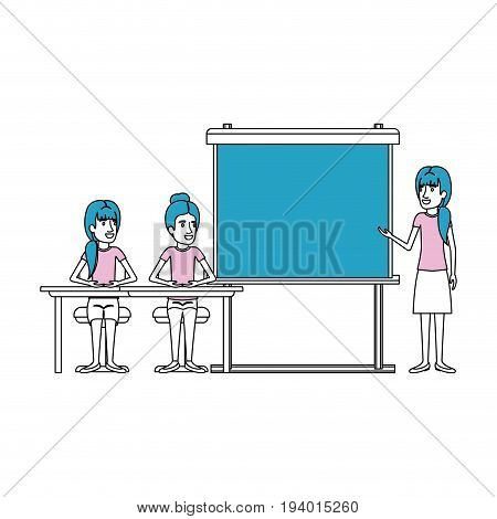 silhouette color sections with pair of women sitting in a desk for female executive orator in presentacion business people vector illustration