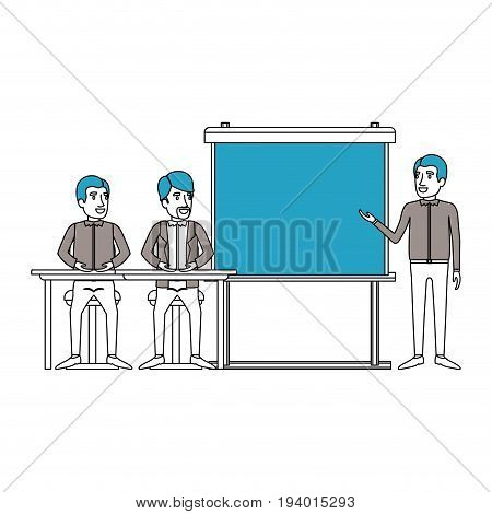 silhouette color sections with pair of man sitting in a desk for executive lecturer in presentacion business people vector illustration