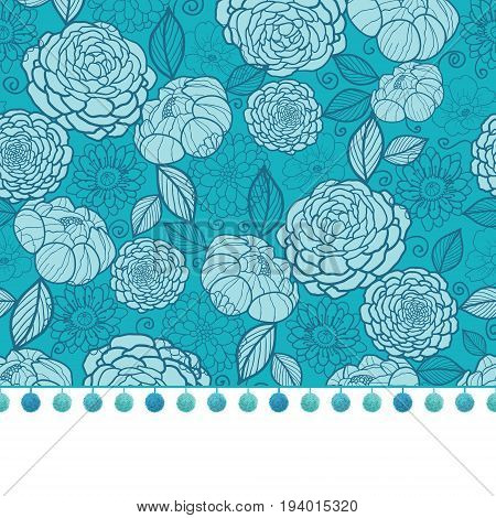 Vector pompom border trim on blue flowers seamless repeat pattern design background print. Perfect for clothing, fabric, home decor, wrapping projects. Surface pattern design