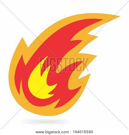 Vector Cartoon Fireball Symbol on white background