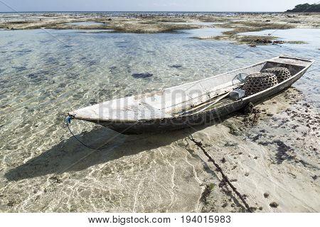 Abandoned Boat At The Seagrass Plantation, Nusa Lembongan, Bali, Indonesia