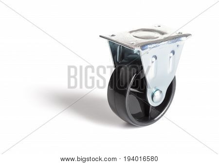 industrial steel caster on a white background