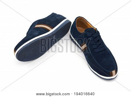 pair of blue leisure shoes for man on white background