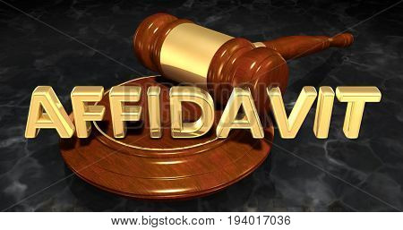 Affidavit Law Concept 3D Illustration