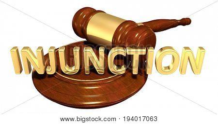 Injunction Law Concept 3D Illustration