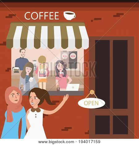 friends hangout in coffee shop restaurant meeting vector