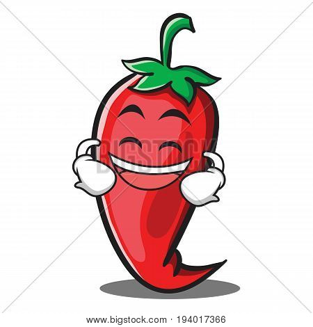 Grinning red chili character cartoon vector illustration