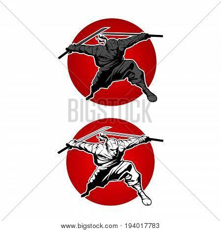 Japan Ninjas sport Logo concept. Katana weapon insignia design. Vintage ninja mascot badge. Martial art Team t-shirt illustration