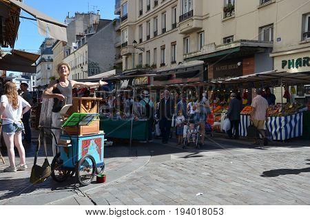 Organist Entertaining At Marche Aligre, Paris
