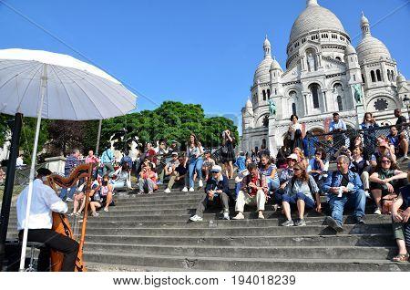 Harpist At Sacre-coeur, Paris