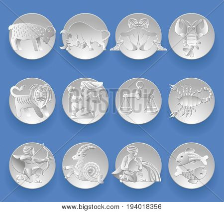 Set of white paper zodiacal signs with figure on circles. Original design