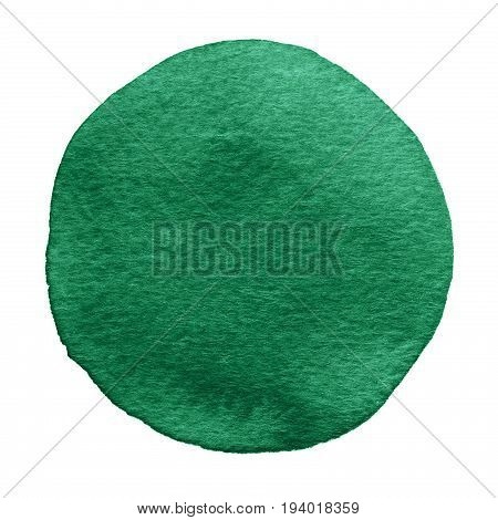 Green, Pine, Basil Watercolor Circle. Watercolour Stain On White Background.