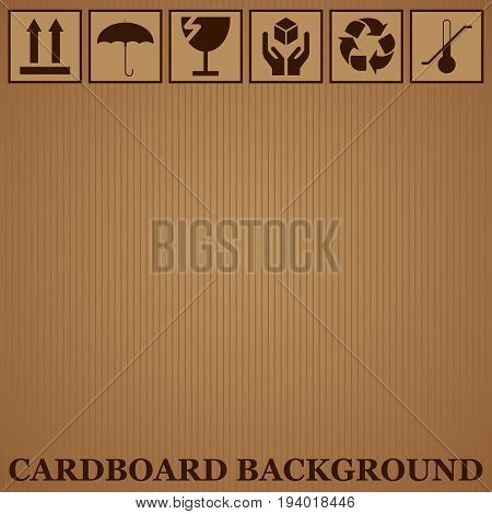 cardboard background and icons of fragility and recycling vector illustration