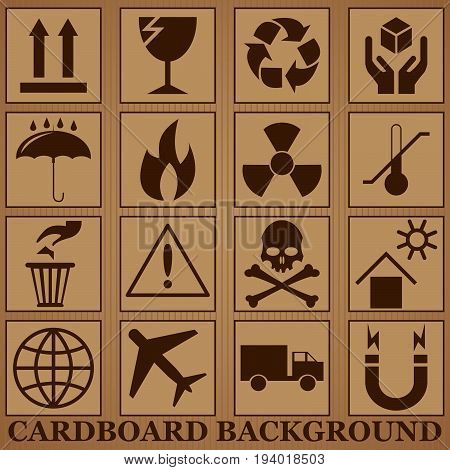 cardboard background and icons of the fragility and recycling vector illustration