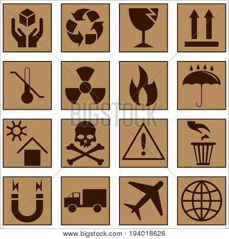 set of icons of fragility and recycling vector illustration